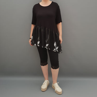 Summer Top with Chiffon Frill Loose Baggy Short Sleeve Beach Holiday Airy Lagenlook Plus Size  [L1074_BLACK2]