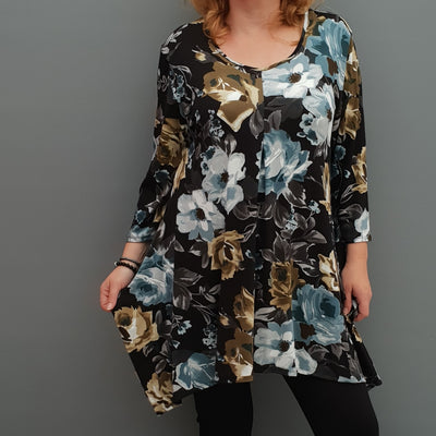 Handkerchief floral stretchy long top tunic 3/4 sleeve  [L1078_BLACK2] - size 16 18 20 22 24 26 28 30 32 34 36 38 40 42 Wolfairy