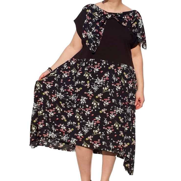Dress  Sleeveless Boho Beach Holiday Floral Airy Lagenlook Plus Size [L1056_BLACK2] - size 16 18 20 22 24 26 28 30 32 34 36 38 40 42 Wolfairy