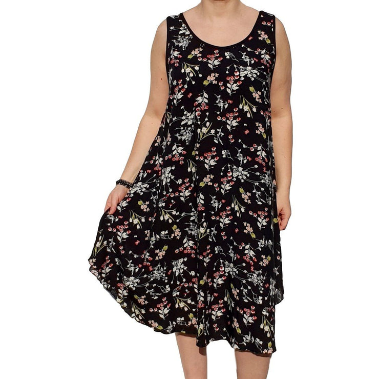 Dress  Sleeveless Boho Beach Holiday Floral Airy Lagenlook Plus Size [L1052_BLACK2] - size 16 18 20 22 24 26 28 30 32 34 36 38 40 42 Wolfairy