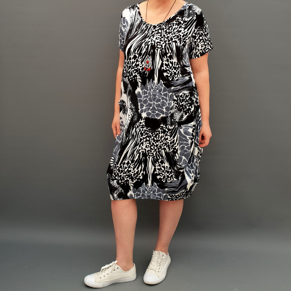 Jersey Baggy Summer Dress Tunic Short Sleeve Plus Size [L1136_BLACK2]