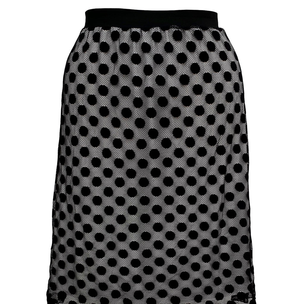 Polka Dot Lace Midi Skirt With Elasticated Waistband Plus Size [L1059_BLACK2] - size 16 18 20 22 24 26 28 30 32 34 36 38 40 42 Wolfairy