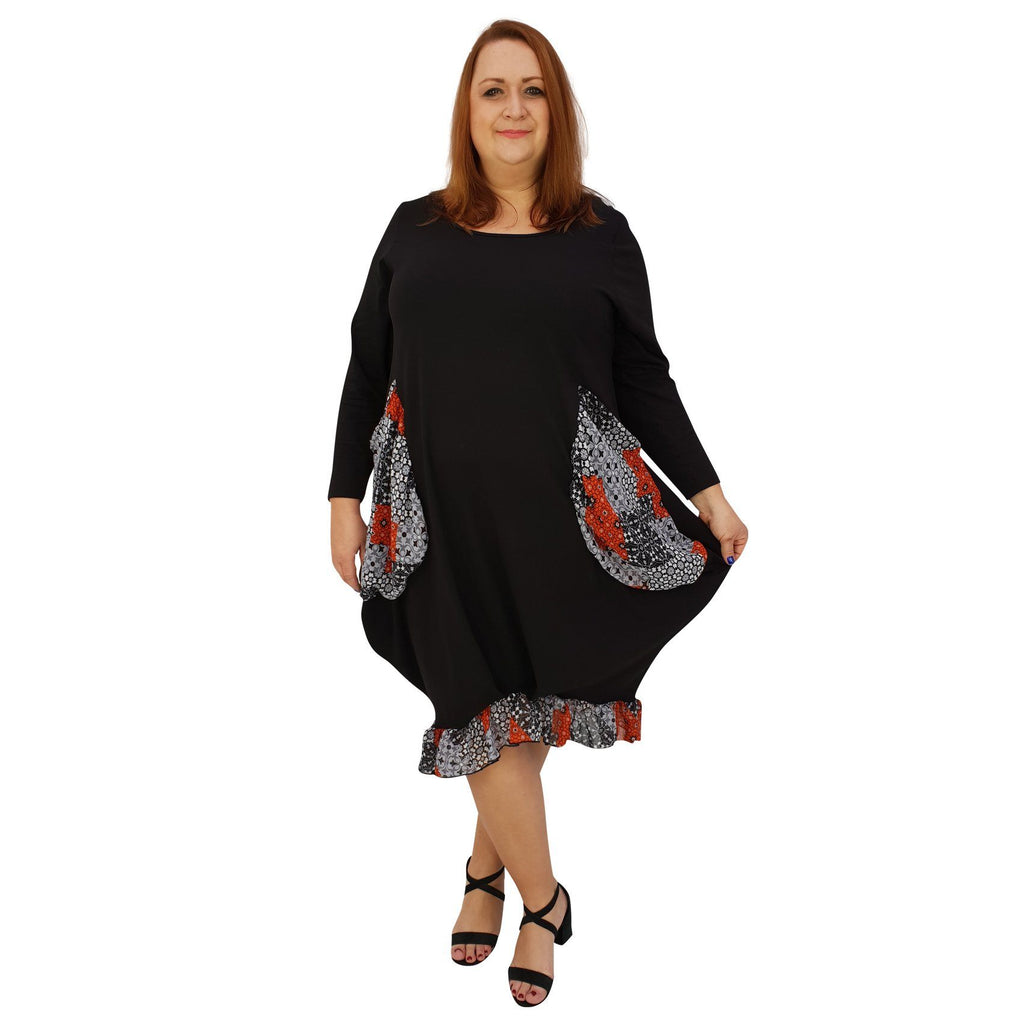 Asymmetric Dress Loose Chiffon Pockets And Frill Long Sleeve Lagenlook Plus Size [L1045_BLACK2] - size 16 18 20 22 24 26 28 30 32 34 36 38 40 42 Wolfairy