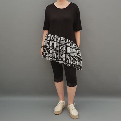 Summer Top with Chiffon Frill Loose Baggy Short Sleeve Beach Holiday Airy Lagenlook Plus Size  [L1074_BLACK3]