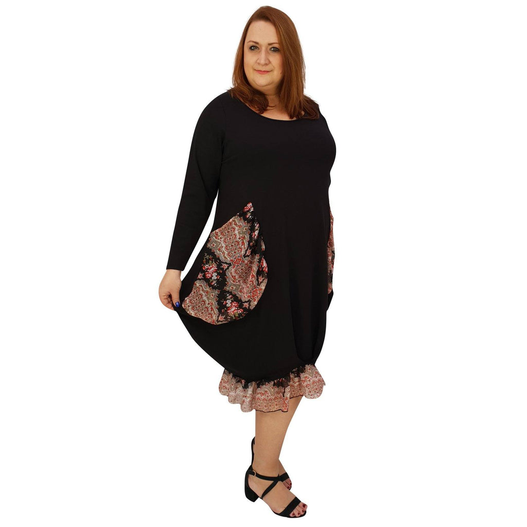 Asymmetric Dress Loose Chiffon Pockets And Frill Long Sleeve Lagenlook Plus Size [L1045_BLACK3] - size 16 18 20 22 24 26 28 30 32 34 36 38 40 42 Wolfairy