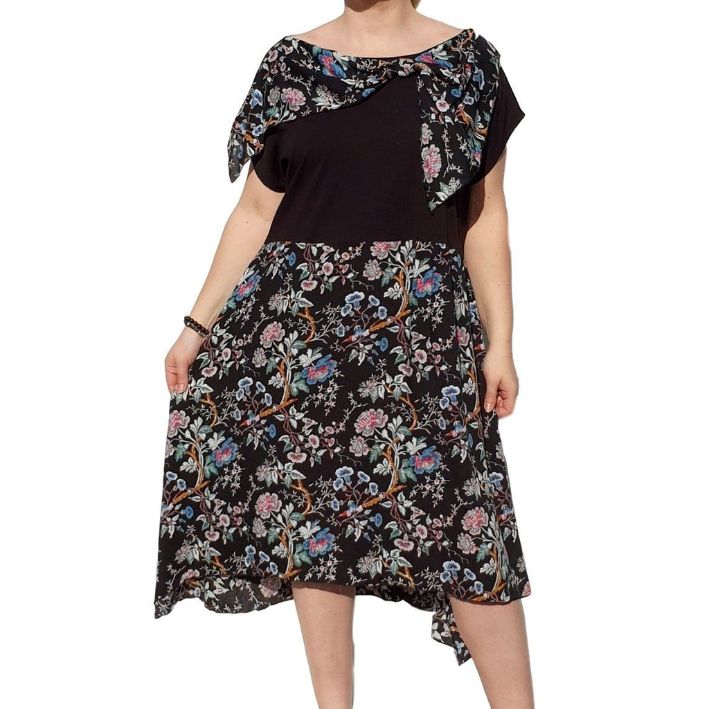 Dress  Sleeveless Boho Beach Holiday Floral Airy Lagenlook Plus Size [L1056_BLACK3] - size 16 18 20 22 24 26 28 30 32 34 36 38 40 42 Wolfairy