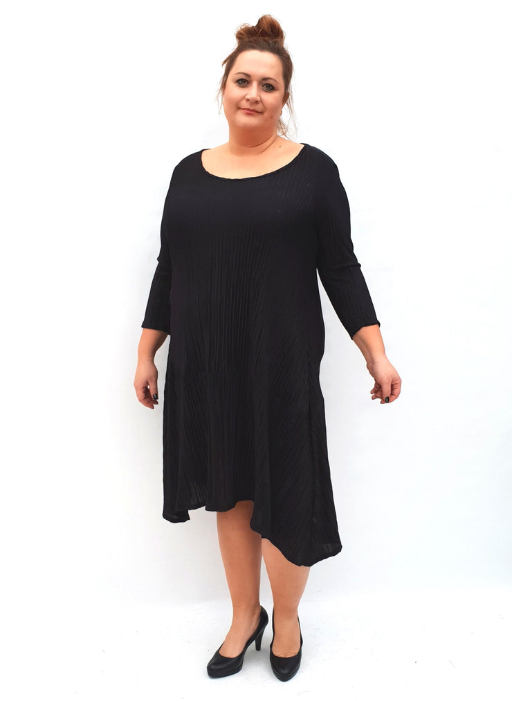 Slightly Pleated Jersey Dress Stretchy Lagenlook Plus Size [L1038_BLACK] dress Wolfairy