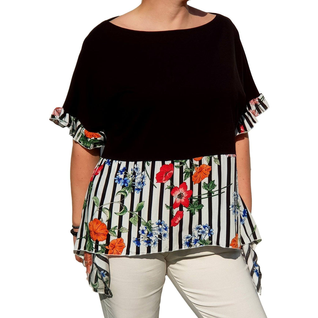 Floral Striped Top  Frill Loose Baggy Short Sleeve Beach Holiday Airy Lagenlook Plus Size [L1057_BLACK4] - size 16 18 20 22 24 26 28 30 32 34 36 38 40 42 Wolfairy