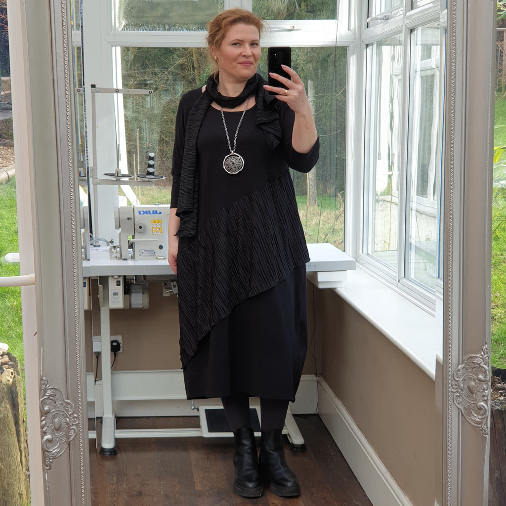 Plus Size Cotton Jersey Dress with Frill and Scarf 3/4 sleeve [L1236_BLACK]