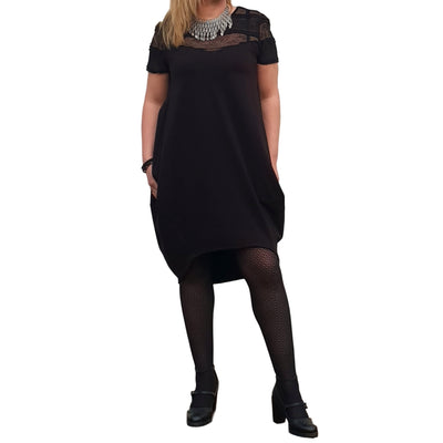 Short Sleeve Summer Dress Cotton Lace Loose Baggy Lagenlook Plus Size knee or calf length  [L1066_BLACK]