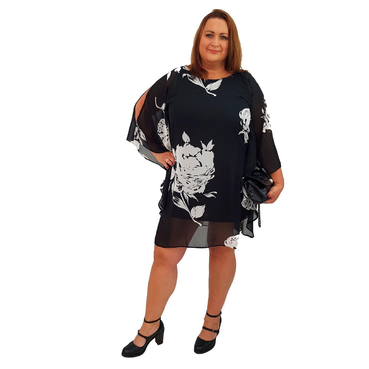 Airy Dress Loose Batwing Sleeve Lagenlook Plus Size [L467_BLACK] - size 16 18 20 22 24 26 28 30 32 34 36 38 40 42 Wolfairy