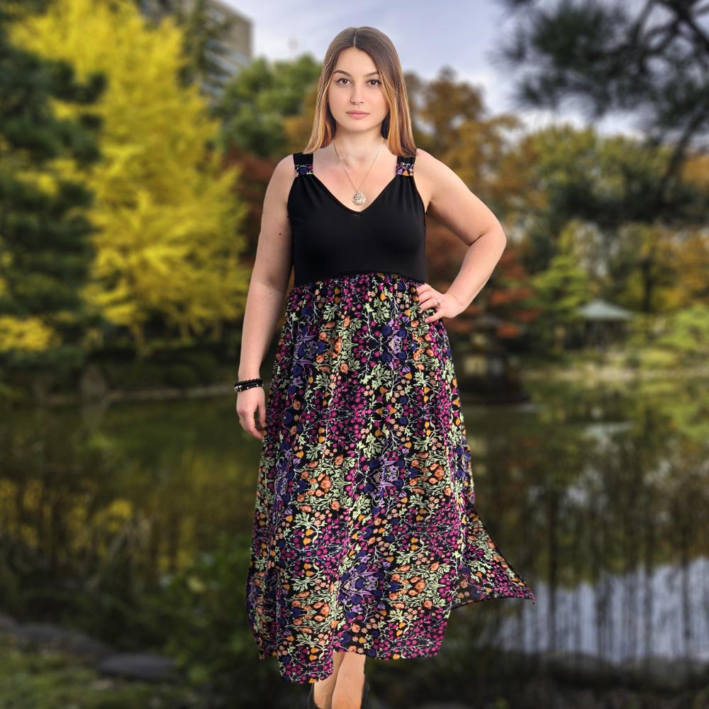 Maxi Airy Dress Loose Sleeveless Longline Holiday Beach Floral Plus Size [L1060_BLACK] - size 16 18 20 22 24 26 28 30 32 34 36 38 40 42 Wolfairy
