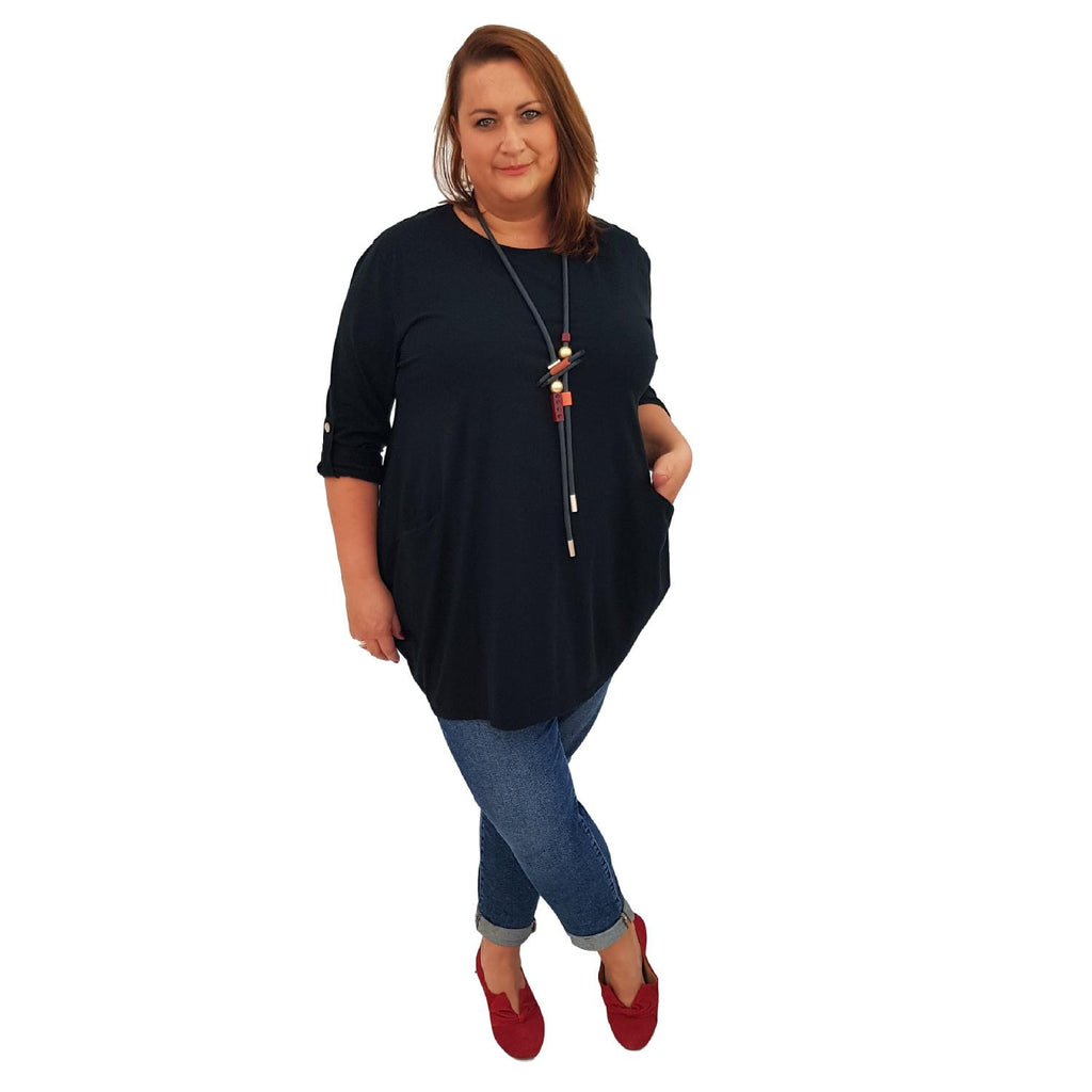 Tunic  Top Baggy   Black Plus Size [L420_BLACK] - size 16 18 20 22 24 26 28 30 32 34 36 38 40 42 Wolfairy