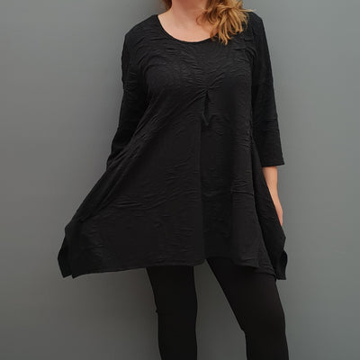Handkerchief black stretchy long top tunic 3/4 sleeve  [L1078_BLACK] - size 16 18 20 22 24 26 28 30 32 34 36 38 40 42 Wolfairy