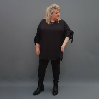 Plus Size Top Embellished Sleeves [L1123_BLACK] - size 16 18 20 22 24 26 28 30 32 34 36 38 40 42 Wolfairy