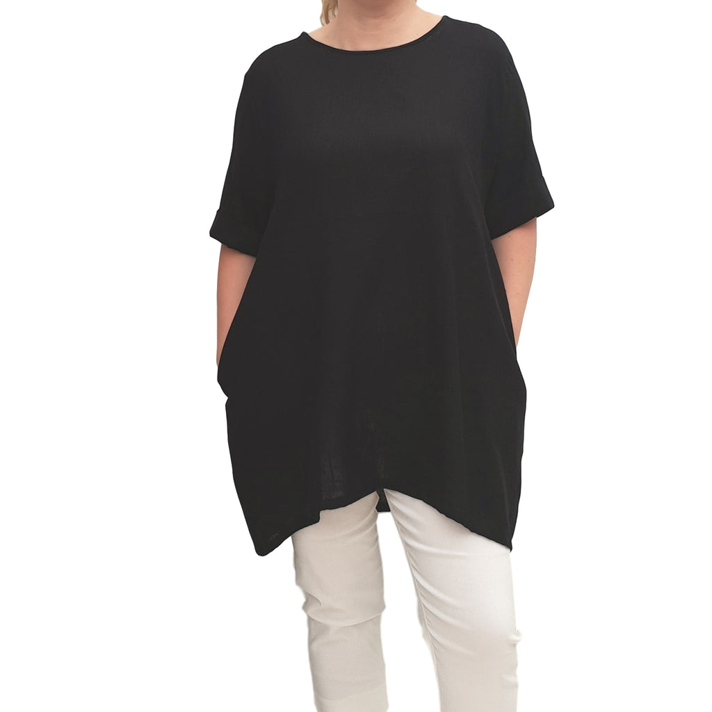 Linen Tunic Summer Top Loose Lagenlook Blouse Short Sleeve Plus Size [L1064_BLACK] - size 16 18 20 22 24 26 28 30 32 34 36 38 40 42 Wolfairy