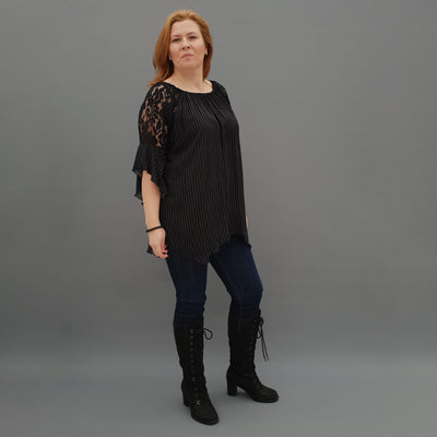 Wolfairy Plus Size Airy Striped Top Tunic Lace Sleeve [L1125_BLACK]