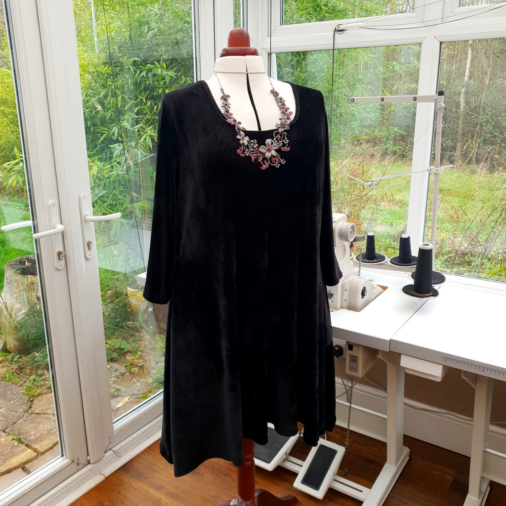 Handkerchief Velour Soft Stretchy Long Top Tunic 3/4 Sleeve [L1216_BLACK]