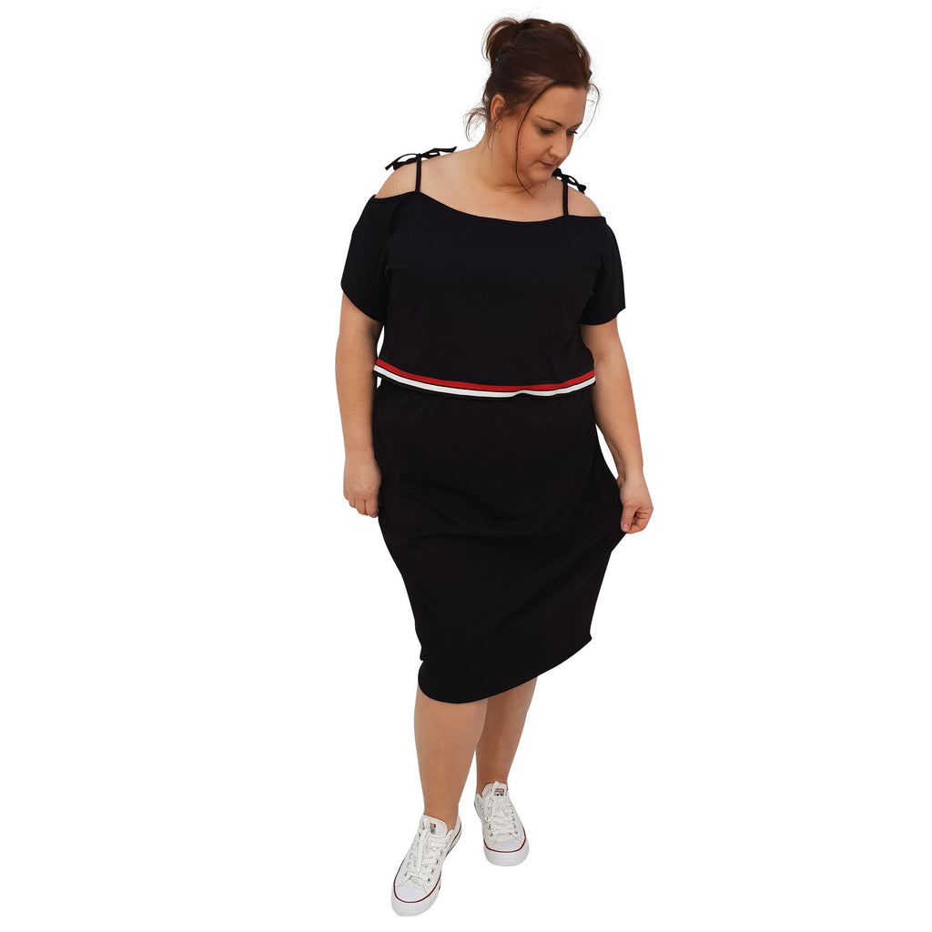Jersey Sports Set - Top & Skirt With Stripe Plus Size [L1049_BLACK] - size 16 18 20 22 24 26 28 30 32 34 36 38 40 42 Wolfairy