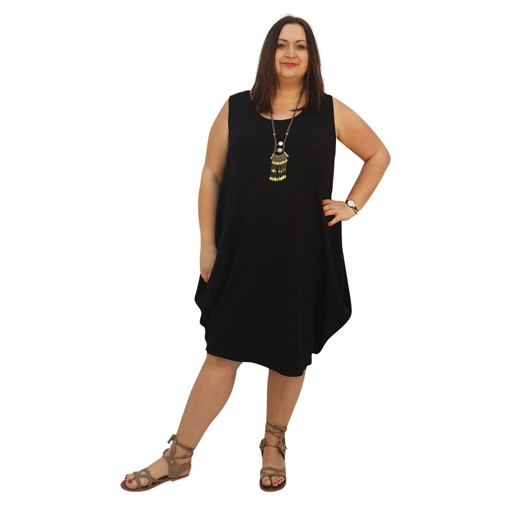 Midi Dress For Beach  Holiday Frill Floral Aztec Tribal  Plus Size [L1047_BLACK] - size 16 18 20 22 24 26 28 30 32 34 36 38 40 42 Wolfairy