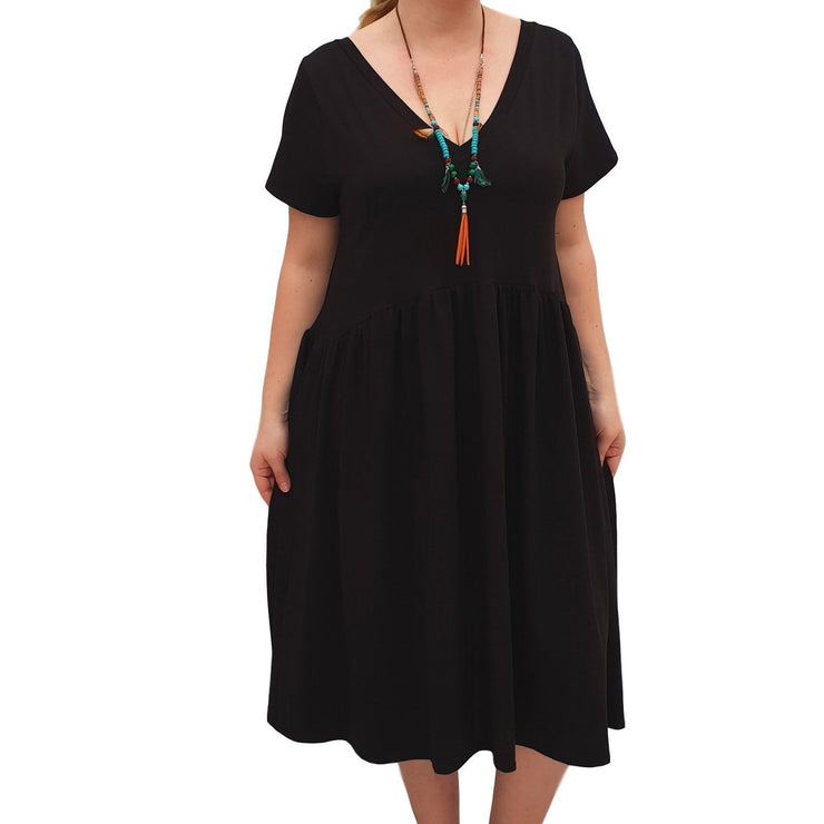 V-neck Swing Dress  Baggy  Jersey Stretchy Boho 2 Pockets Lagenlook Plus Size [L1058_BLACK] - size 16 18 20 22 24 26 28 30 32 34 36 38 40 42 Wolfairy