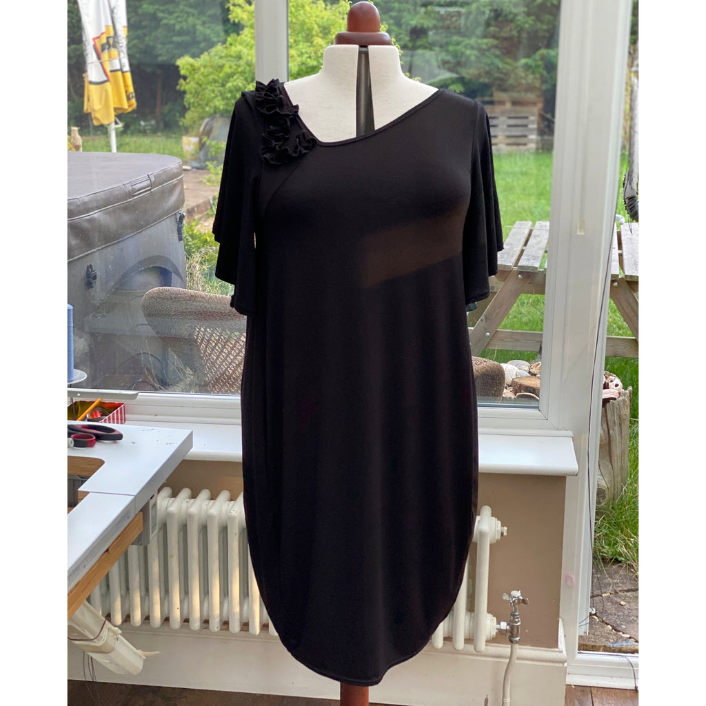 Plus Size Smart Jersey Dress Baggy Style Angel Sleeve [L1158_BLACK]