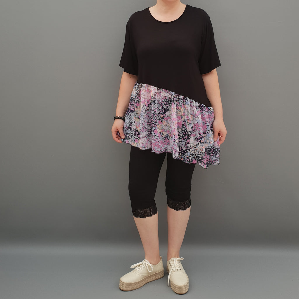 Summer Top with Chiffon Frill Loose Baggy Short Sleeve Beach Holiday Airy Lagenlook Plus Size  [L1074_BLACK] - size 16 18 20 22 24 26 28 30 32 34 36 38 40 42 Wolfairy
