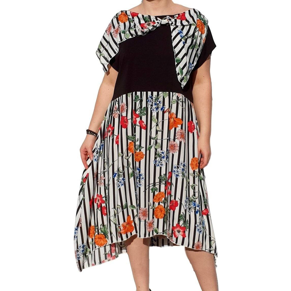 Dress  Sleeveless Boho Beach Holiday Floral Airy Lagenlook Plus Size [L1056_BLACK] - size 16 18 20 22 24 26 28 30 32 34 36 38 40 42 Wolfairy
