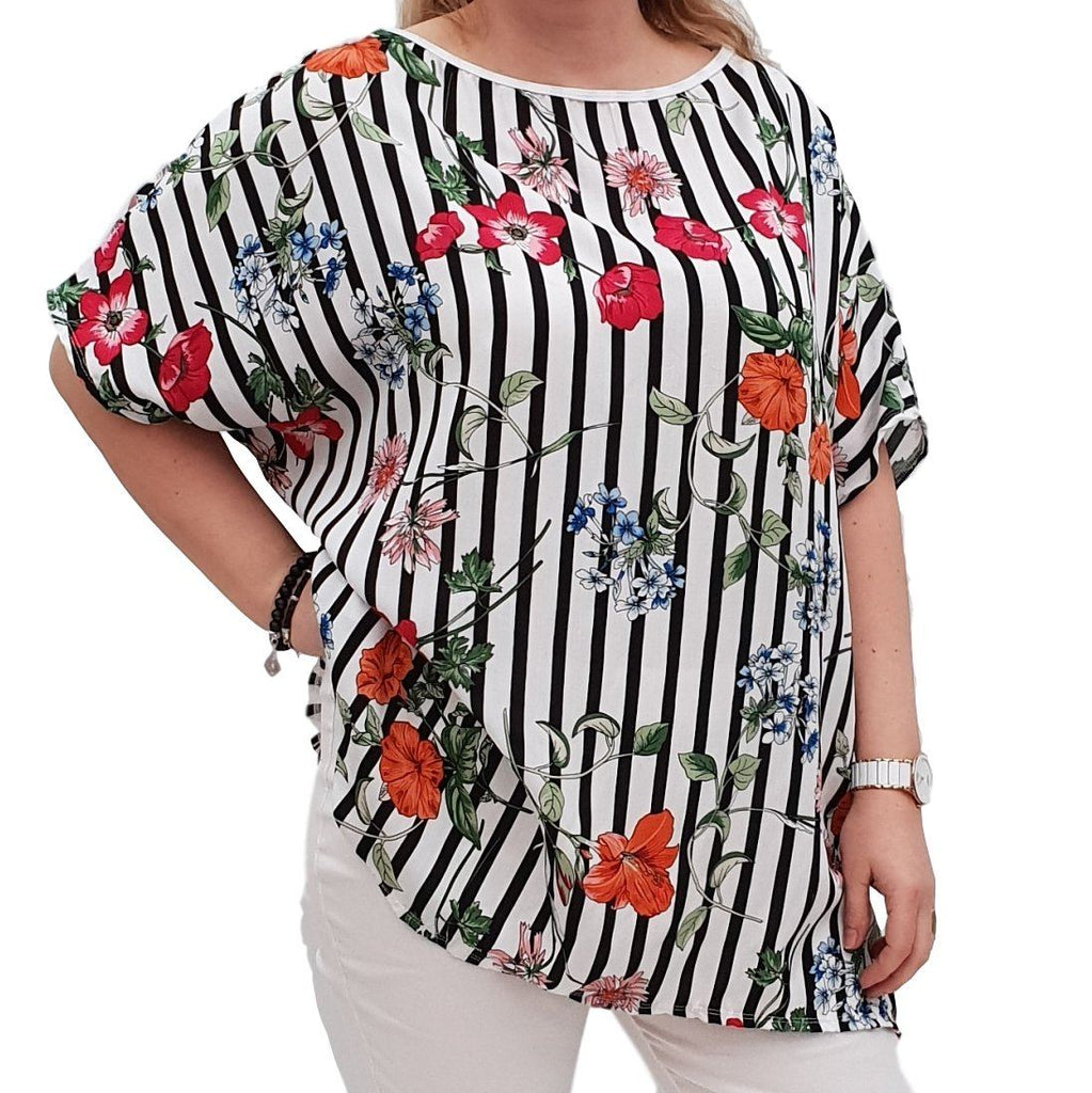 Striped Floral Top  Tunic  Loose Short Sleeve Lagenlook Plus Size [L1051_BLACK] - size 16 18 20 22 24 26 28 30 32 34 36 38 40 42 Wolfairy