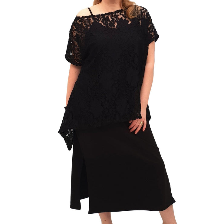 Semi-fitted Bodycon Jersey Maxi Dress With Lace Top - 2 Pieces Set Lagenlook Plus Size [L1053_BLACK] dress Wolfairy