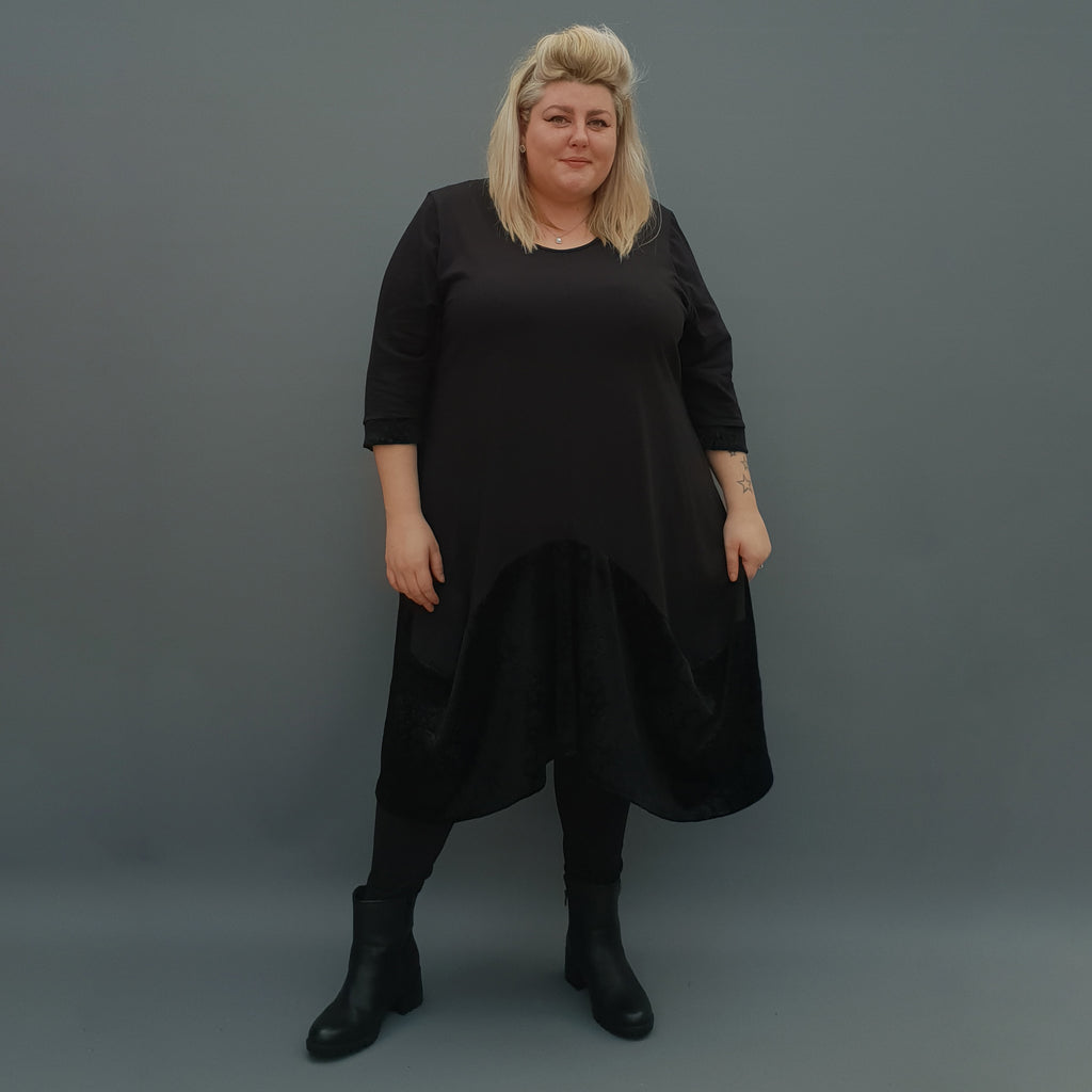 Plus Size Swing Jersey Cotton Long Top Dress Asymmetric Embellished Velvet Hem [L1121_BLACK] - size 16 18 20 22 24 26 28 30 32 34 36 38 40 42 Wolfairy
