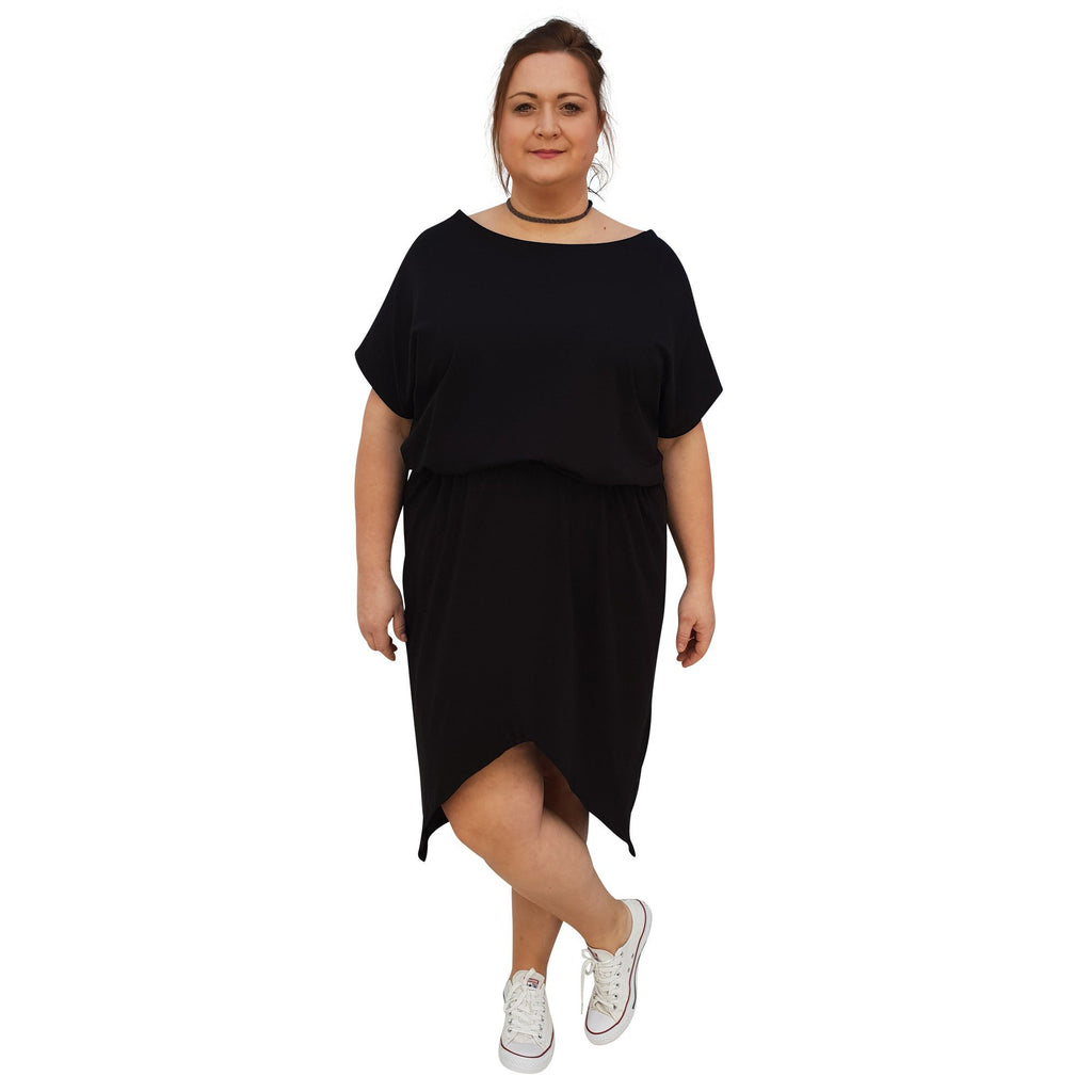 Sport Dress Asymmetric Slit Jersey  Plus Size [L1048_BLACK] - size 16 18 20 22 24 26 28 30 32 34 36 38 40 42 Wolfairy