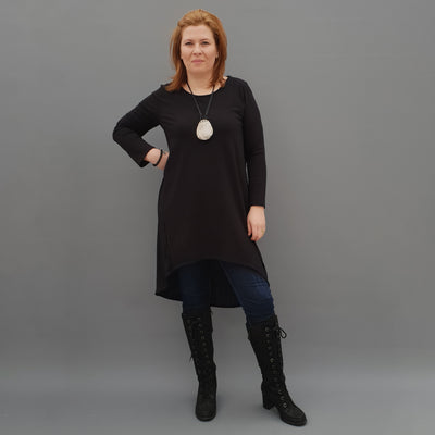 Wolfairy Plus Size Cotton Tunic Dress Pleated Longer Back [L1127_BLACK]