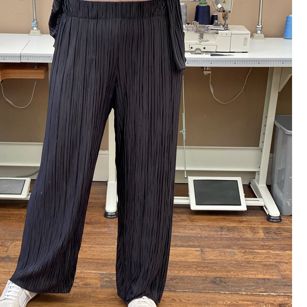 Wide Leg Pleated Jersey Pants [L1147_BLACK]