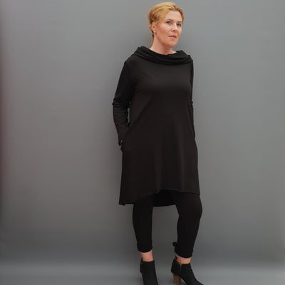 Womens plus size cotton a line tunic top plain lagenlook loose long sleeve [L1090_BLACK] - size 16 18 20 22 24 26 28 30 32 34 36 38 40 42 Wolfairy