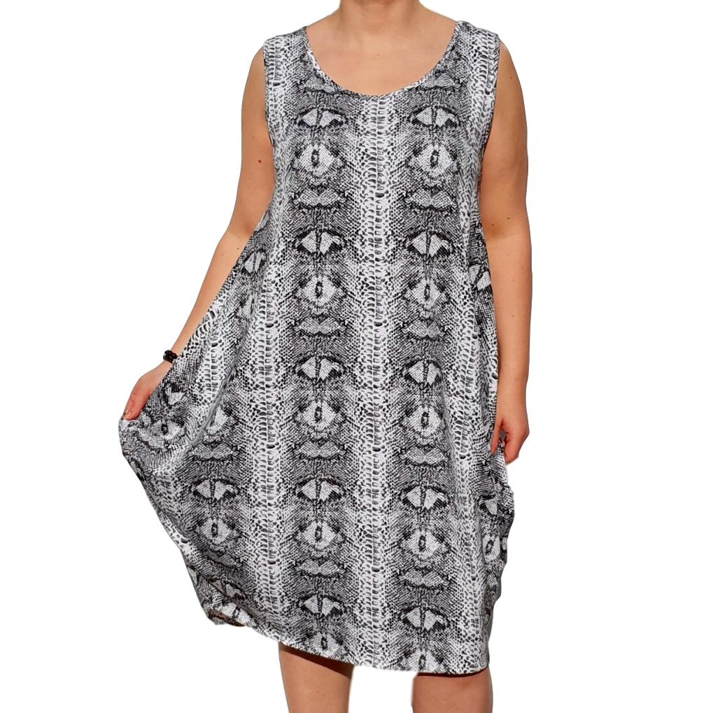 Dress  Beach Holiday Snake Animal Print Loose Baggy Sleeveless Jersey Lagenlook Plus Size [L1055_BLACK] - size 16 18 20 22 24 26 28 30 32 34 36 38 40 42 Wolfairy