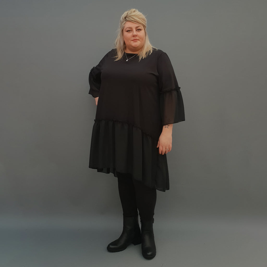 Plus Size Swing Jersey Cotton Top Longer Back with Chiffon Hem [L1120_BLACK] - size 16 18 20 22 24 26 28 30 32 34 36 38 40 42 Wolfairy