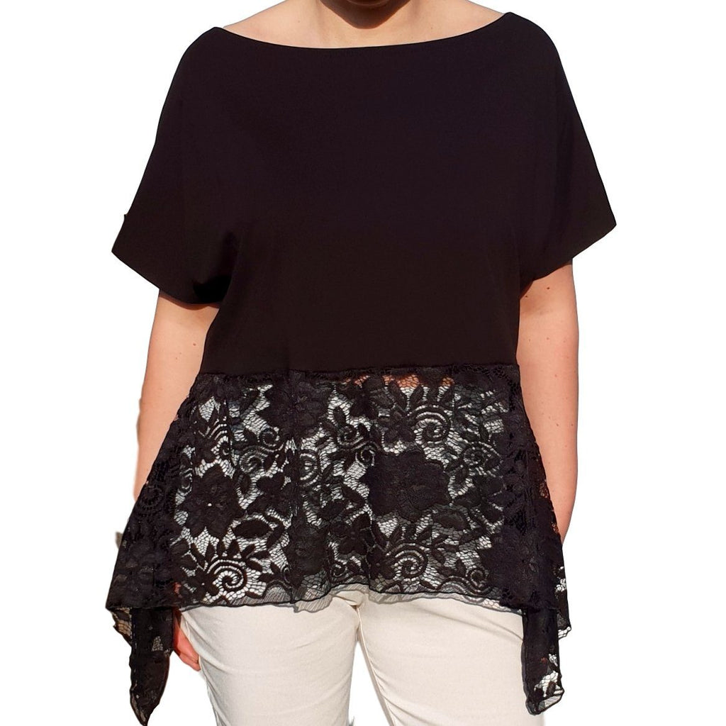 Lace Top  Frill Loose Baggy Short Sleeve Beach Holiday Airy Lagenlook Plus Size [L1057_BLACK] - size 16 18 20 22 24 26 28 30 32 34 36 38 40 42 Wolfairy