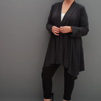 Womens plus size cardigan long sleeves open front handkerchief hem angora [L1086_BLACK] - size 16 18 20 22 24 26 28 30 32 34 36 38 40 42 Wolfairy