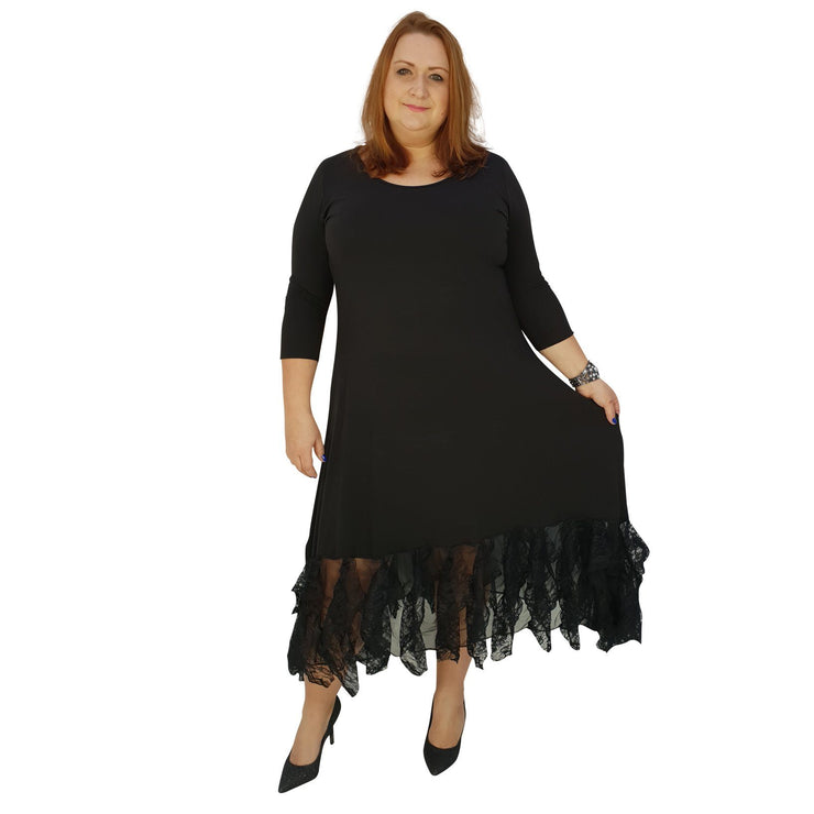 Maxi Dress Floral Layered Lace Frill 3/4 Sleeve Lagenlook Plus Size [L1041_BLACK] dress Wolfairy