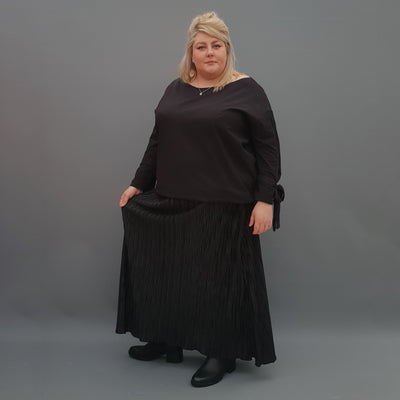 Black Pleated Maxi Skirt With Elasticated Waistband Plus Size [L1122_BLACK] - size 16 18 20 22 24 26 28 30 32 34 36 38 40 42 Wolfairy
