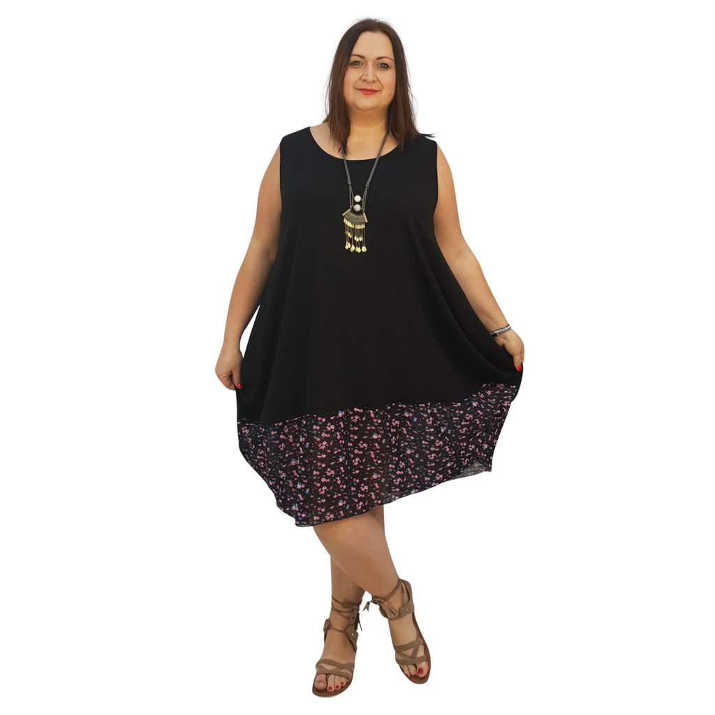 Midi Dress For Beach  Holiday Frill Floral Aztec Plus Size [L1047_BLACKCHIFFON2] - size 16 18 20 22 24 26 28 30 32 34 36 38 40 42 Wolfairy