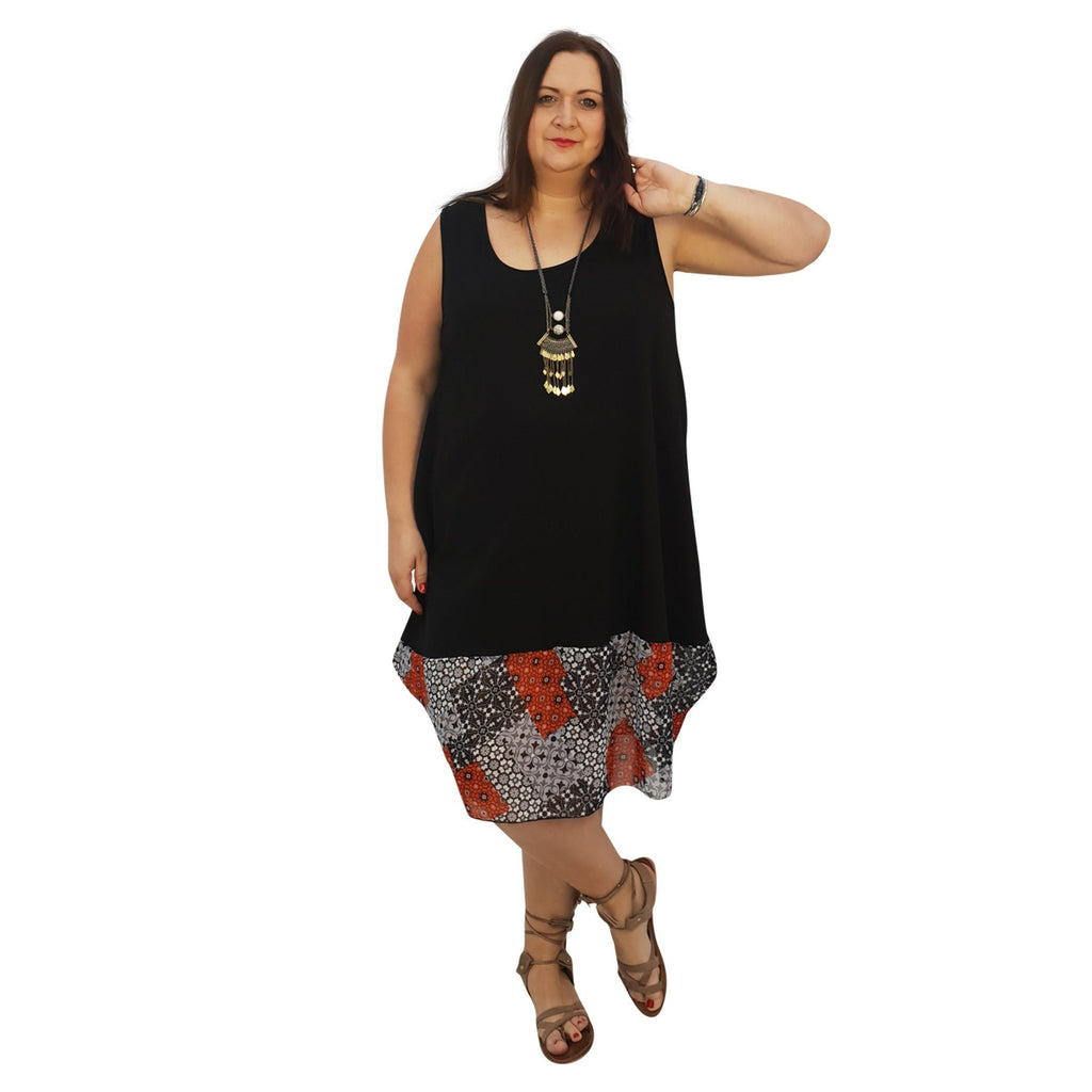 Midi Dress For Beach  Holiday Frill Floral Aztec Tribal  Plus Size [L1047_BLACKCHIFFON] - size 16 18 20 22 24 26 28 30 32 34 36 38 40 42 Wolfairy