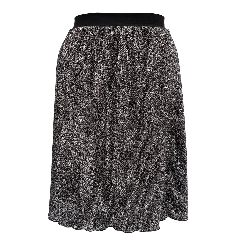 Black/silver Print Pleated Midi Skirt With Elasticated Waistband Plus Size [L1059_BLACKSILVER] - size 16 18 20 22 24 26 28 30 32 34 36 38 40 42 Wolfairy