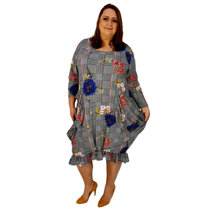 Asymmetric Dress Frilll Loose Pockets Long Sleeve Floral Lagenlook Plus Size [L1043_BLUE] - size 16 18 20 22 24 26 28 30 32 34 36 38 40 42 Wolfairy
