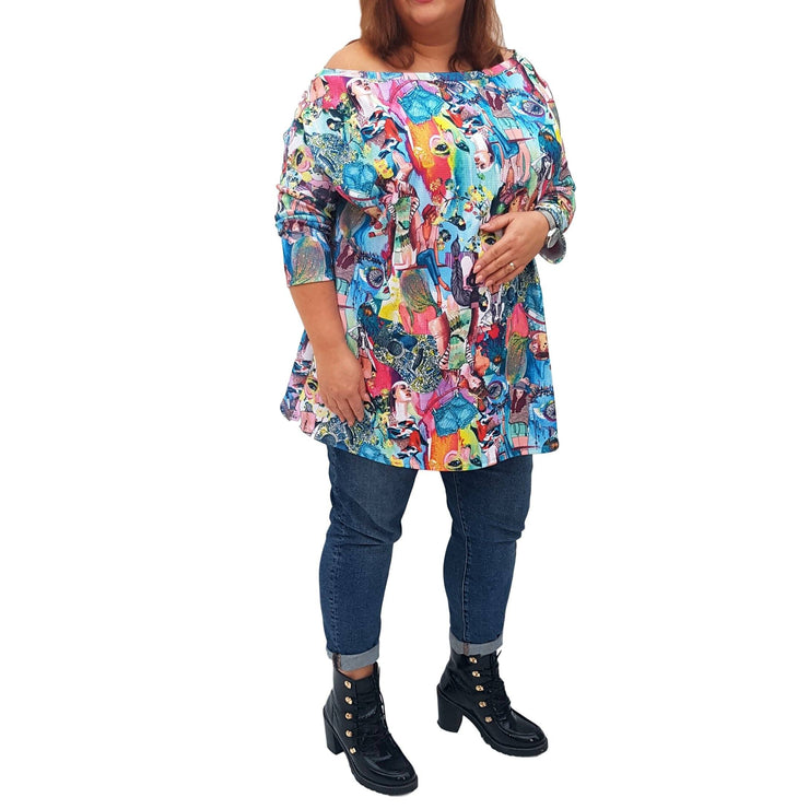 Off The Shoulder Printed Top Tunic Loose Long Sleeve Lagenlook Plus Size [L1039_BLUE] top Wolfairy
