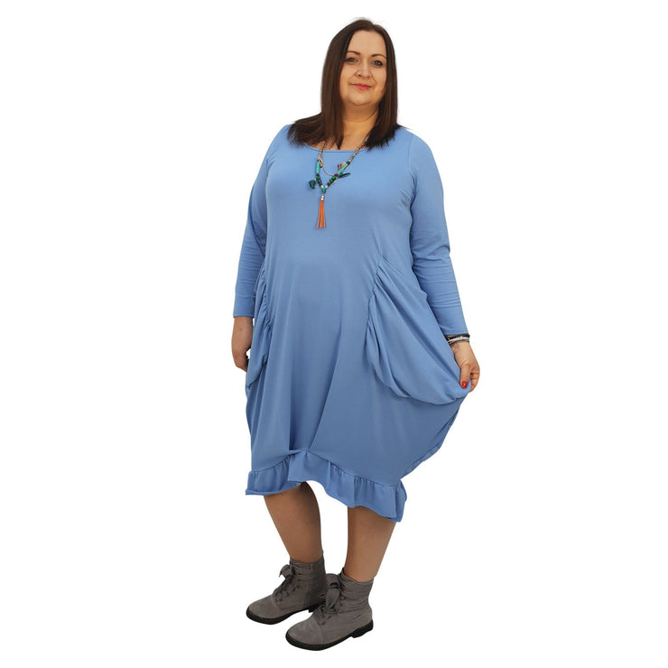 Asymmetric Dress Frill Loose Pockets Plain Long Sleeve Lagenlook Plus Size [L1044_BLUE] - size 16 18 20 22 24 26 28 30 32 34 36 38 40 42 Wolfairy