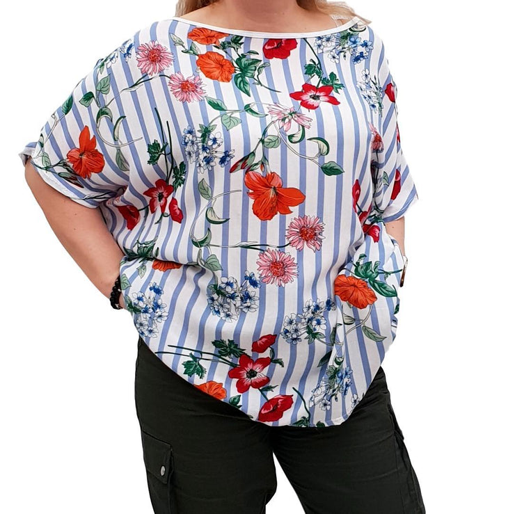 Striped Floral Top Tunic Loose Short Sleeve Lagenlook Plus Size [L1051_BLUE] top Wolfairy