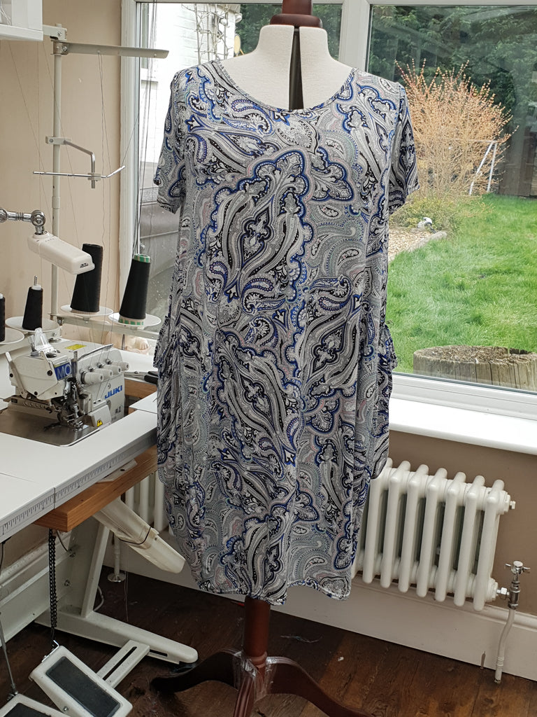 Thin Airy Jersey Baggy Summer Dress Tunic Short Sleeve Plus Size [L1136_BLUE]