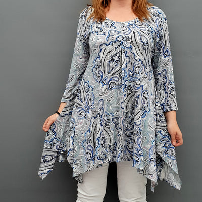 Handkerchief Paisley Stretchy Long Top Tunic 3/4 Sleeve [L1078_BLUE] - size 16 18 20 22 24 26 28 30 32 34 36 38 40 42 Wolfairy